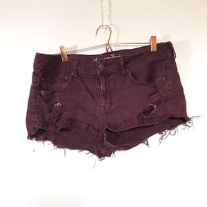 AEO • Maroon Distressed Shorts | 12